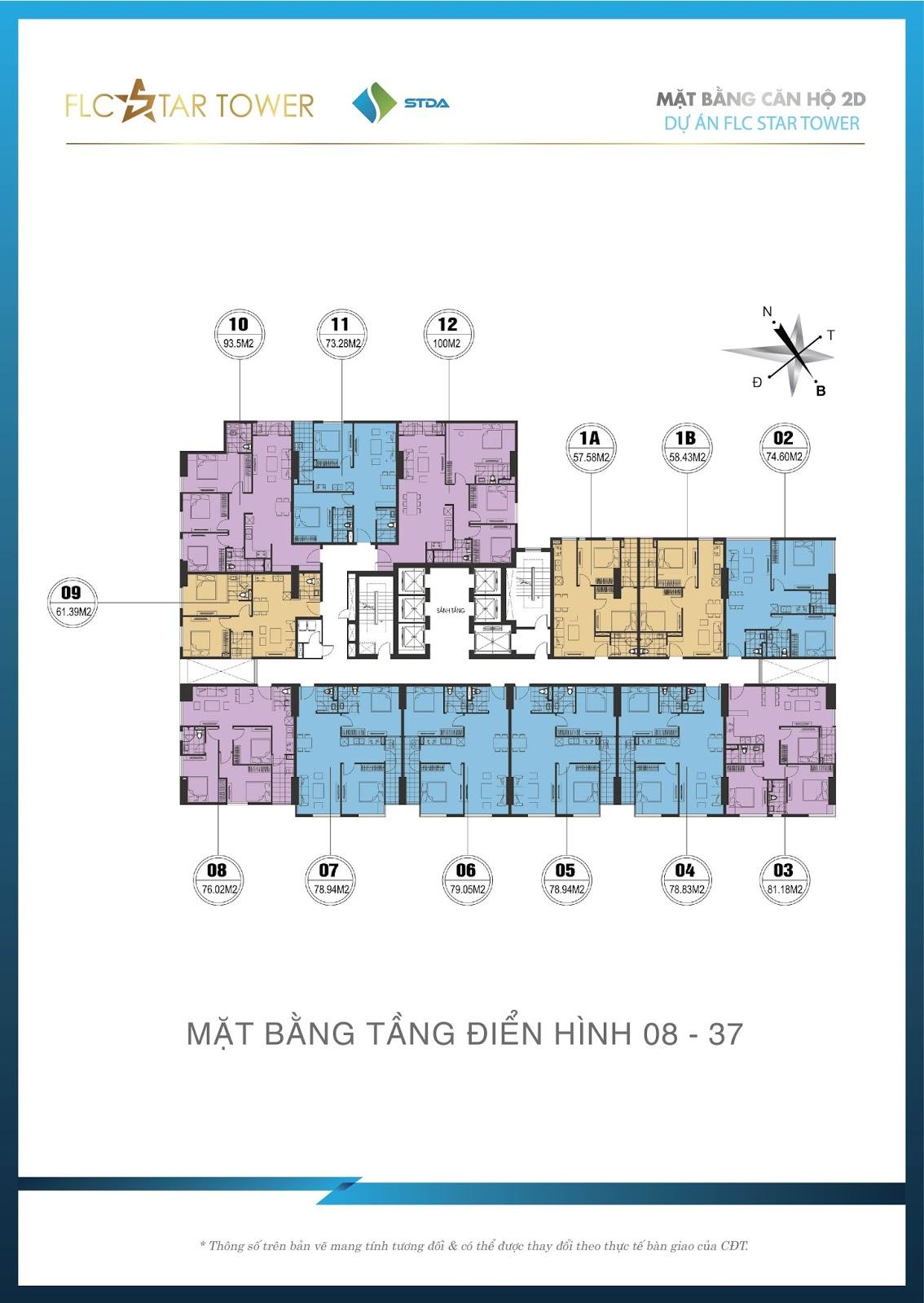 Thiết kế căn hộ FLC Star Tower với 13 căn/tầng