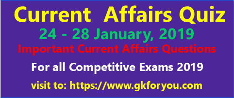 Current Affairs Quiz 24-28-January-2019 I Current Affairs 2019