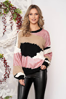 Pulover SunShine roz deschis cu croi larg scurt din lana