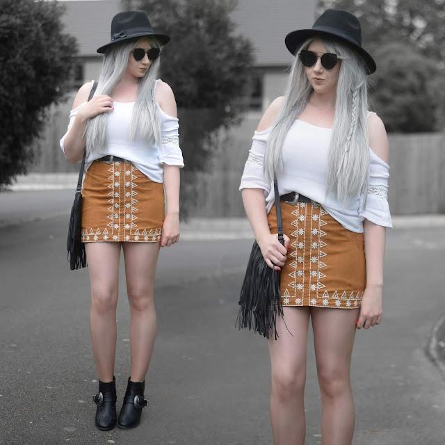 Sammi Jackson - Primark Black Fedora / Zaful Sunglasses / Boohoo Off Shoulder Top / Choies Double Buckled Belt / Sammydress Embroidered Suede Skirt / Romwe Fringed Bag / Missguided Buckled Ankle Boots