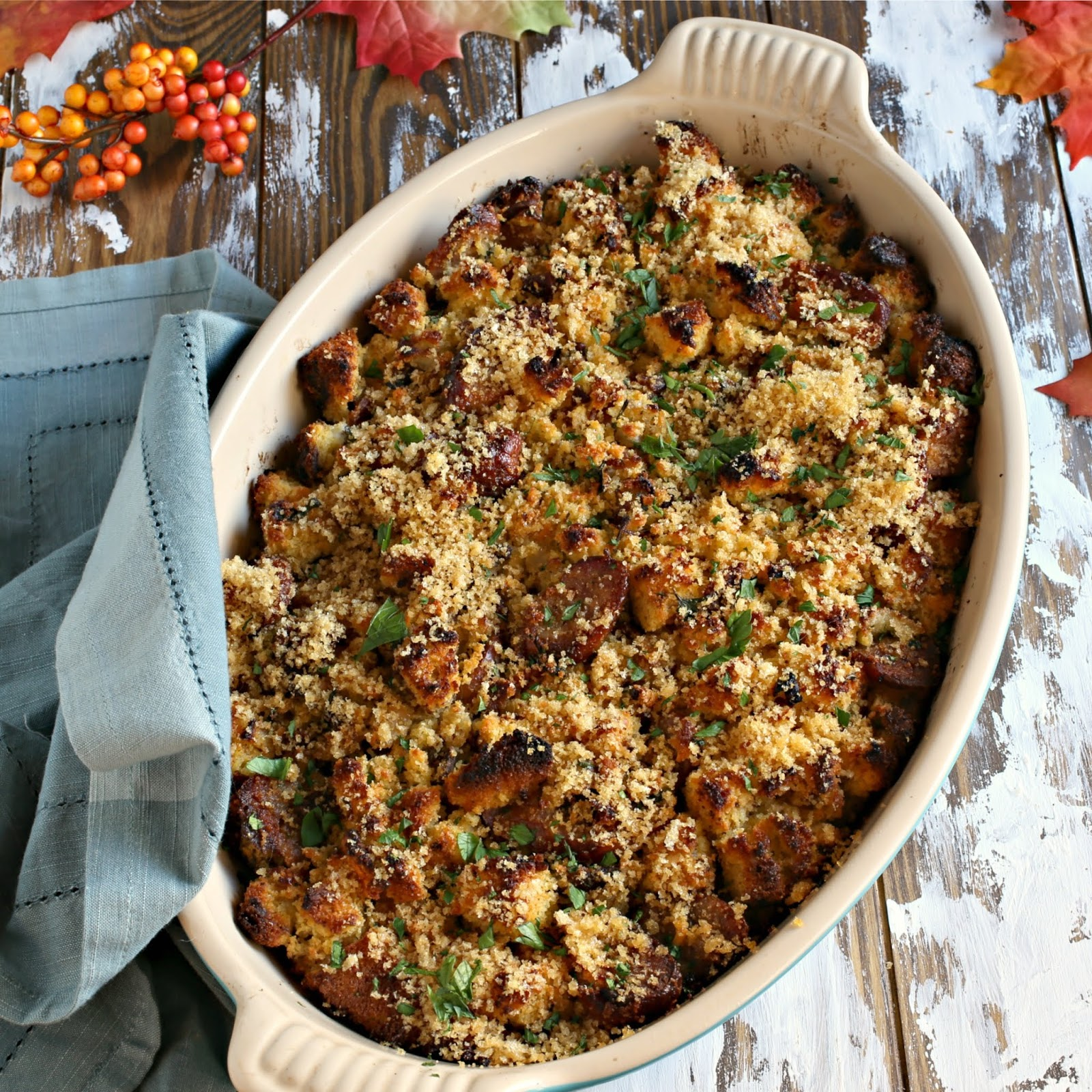 Homemade cornbread stuffing with bacon, sausage and cheese.