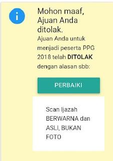 silakan perbaiki ajuan pendaftaran ppg