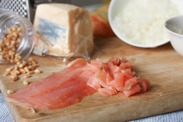 Potrebni sastojci za rizoto sa dimljenim lososom