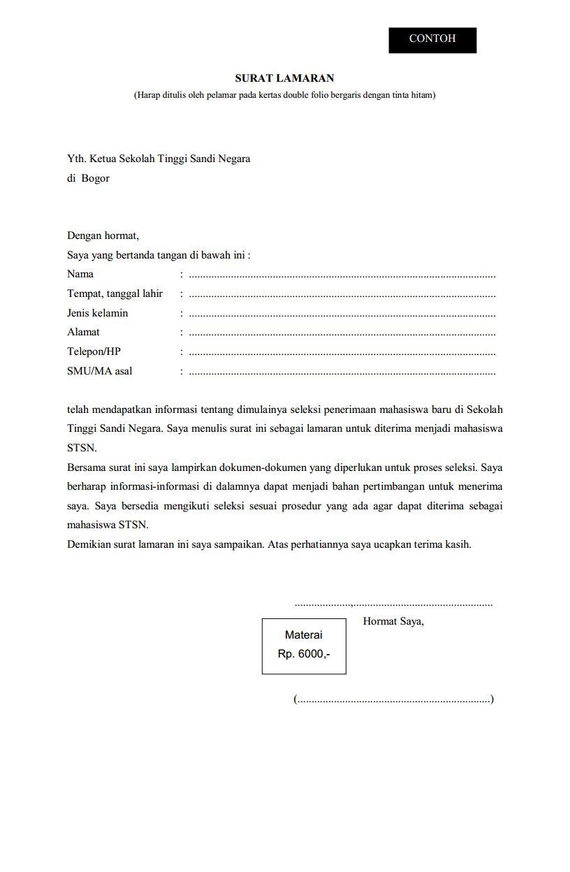 Contoh Surat Lamaran Untuk Sekolah Kedinasan