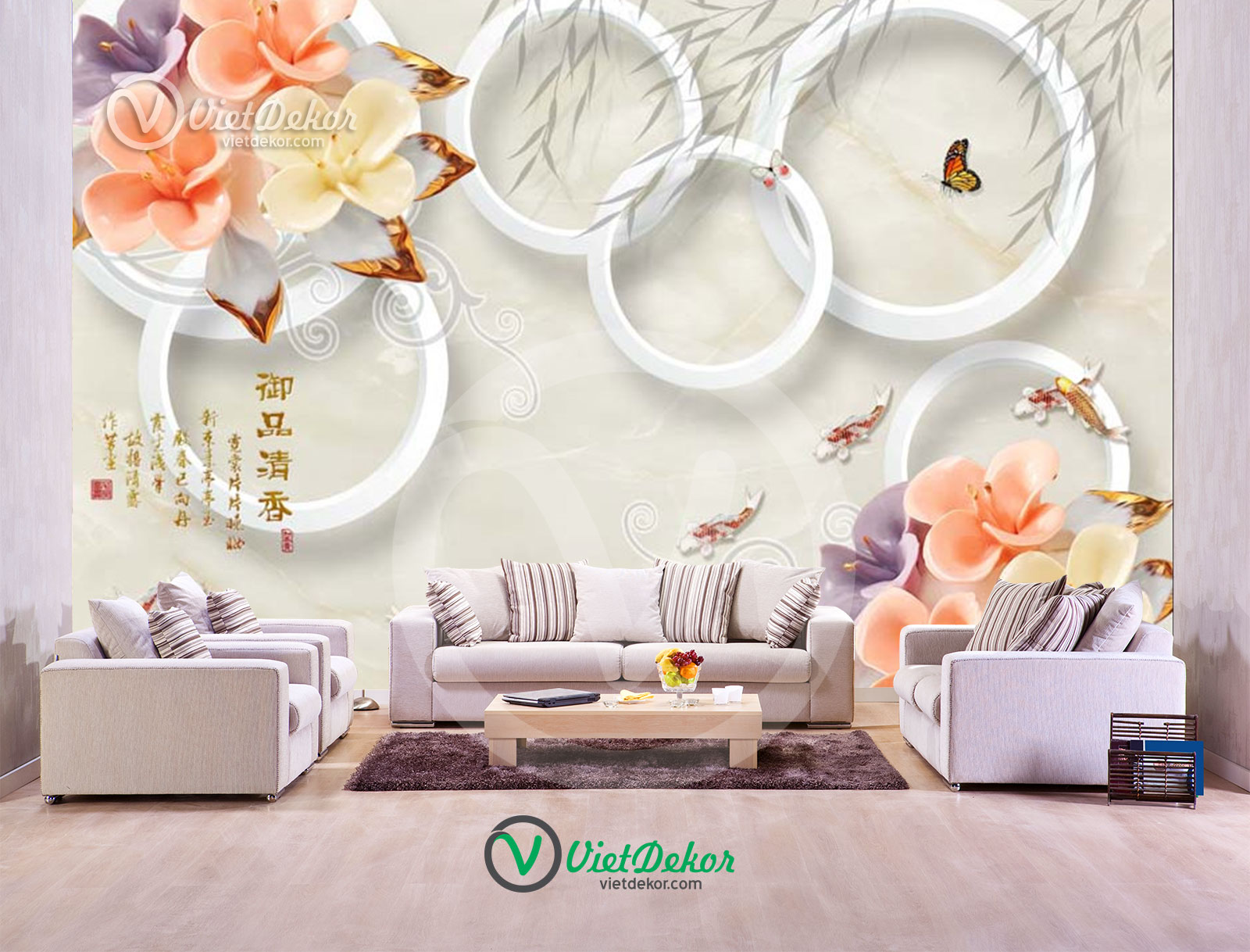 Tranh dán tường 3d hoa cửu ngủ