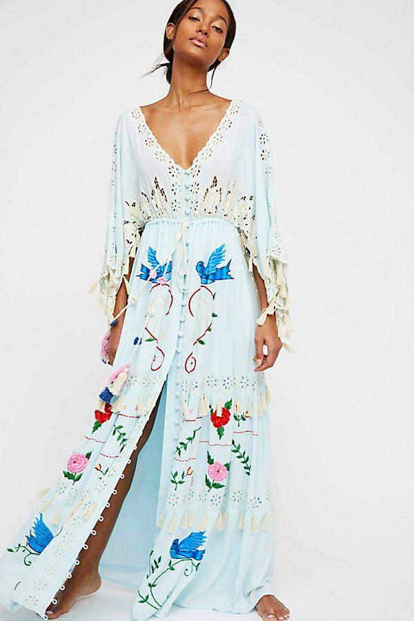 Model wearing long dress