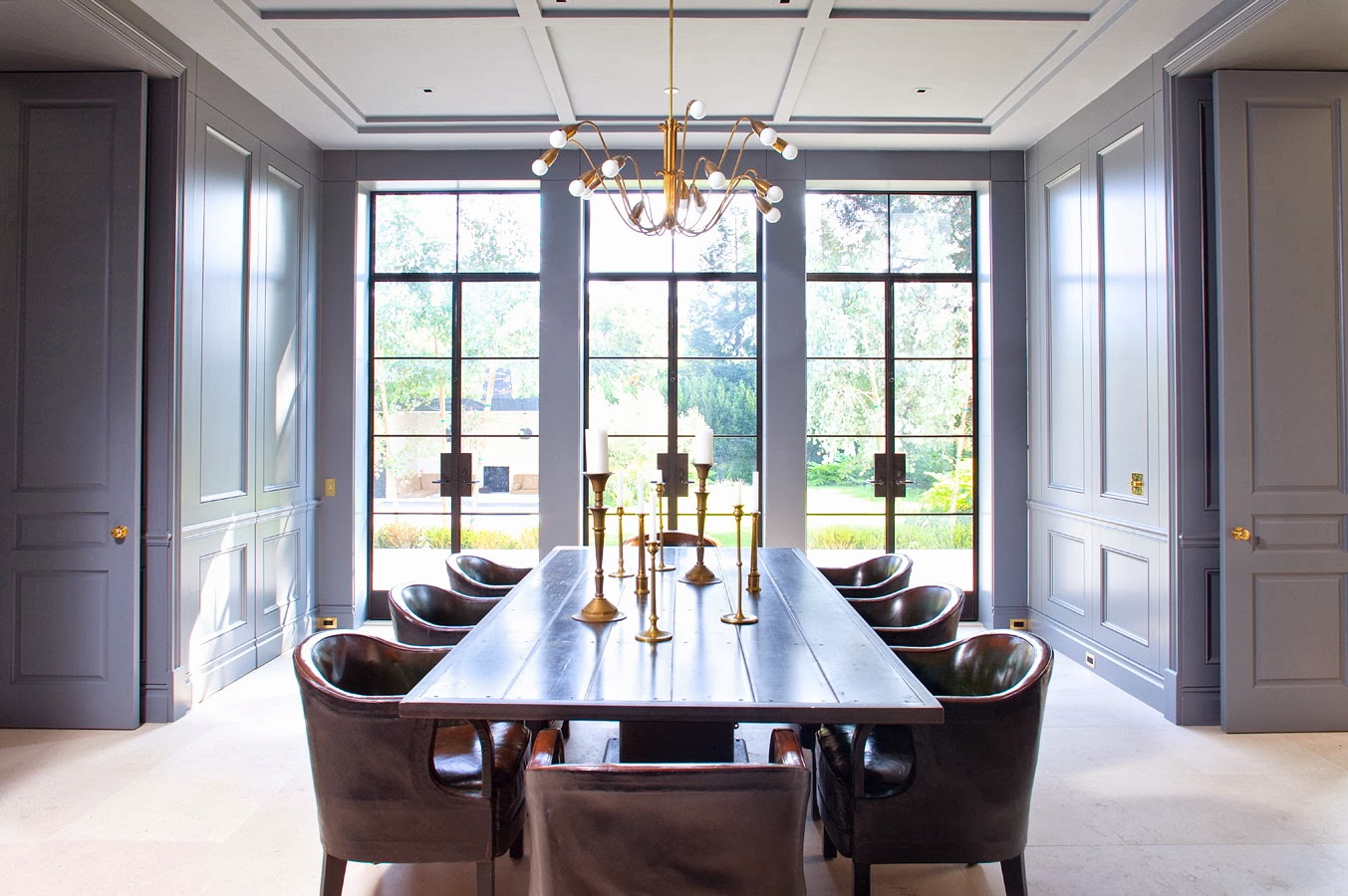 dining room design with blue color | model home interiors