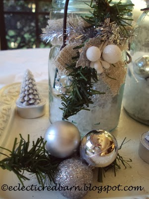 Eclectic Red Barn: Mason jars decorated for Christmas with tea lights
