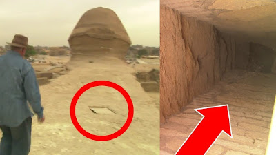 Hidden chamber and entrance to the tunnels beneath the Sphinx of Egypt.