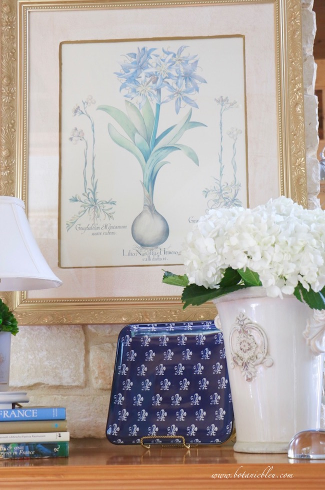 Use white hydrangeas in a French style urn for a cooling effect in summer