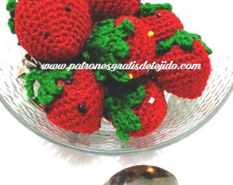 frutas en frutera tejidas a crochet