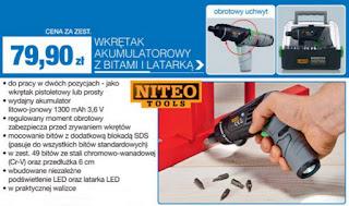 Wkrętak akumulatorowy z bitami i latarką Niteo Tools Biedronka ulotka