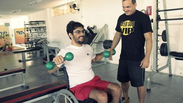 Cadeirante Jadson Salvador treina três vezes por semana. Foto: Paulista Fotografias/Juliano Mendes Assessoria