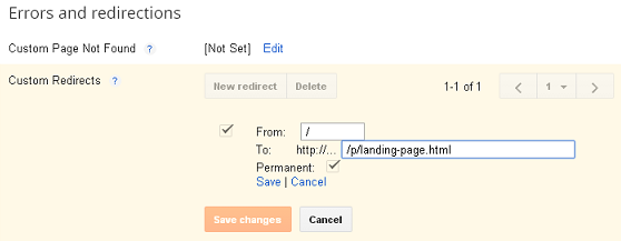 Blogger Custom Redirection Settings