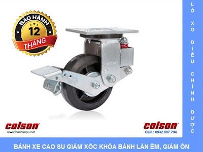 Bánh xe đẩy có phanh hãm giảm xóc Colson phi 150 | SB-6509-648BRK1 banhxedaycolson.com
