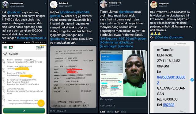 Pilpres 2019 Membalik 2014, Publik Kini Berbondong Sumbang Prabowo, Dari Kuli-Ojek-Honorer-Dan Lainnya