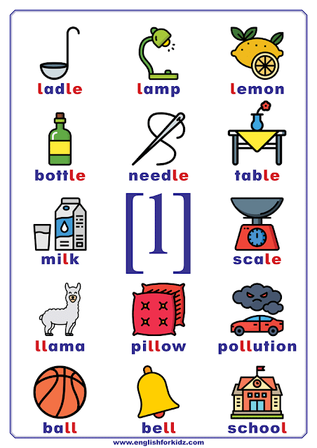 English phonetics chart - sound l represented by letter l