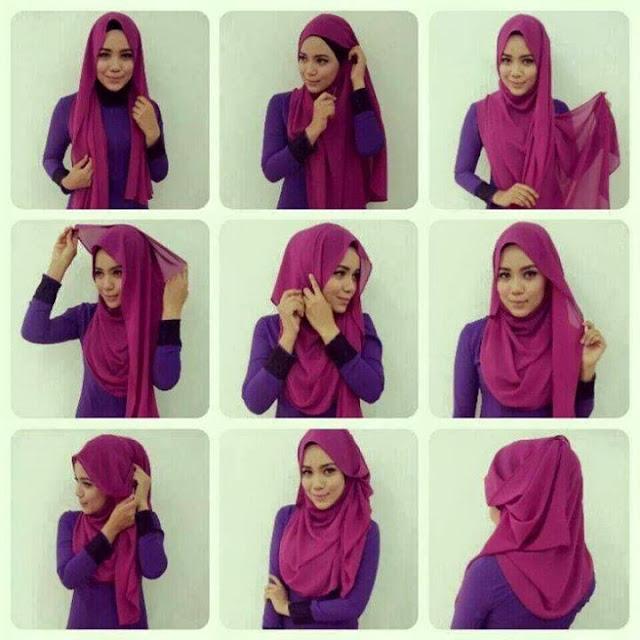 gambar tutorial hijab pashmina