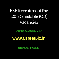 Border Security Force (BSF) Recruitment for 1206 Constable Vacancies - 2016
