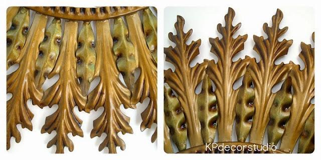 Espejos de pared metálicos color dorado circulares clásicos restaurados