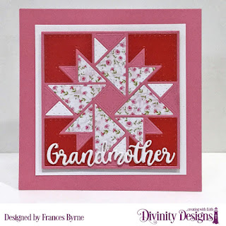 Divinity Designs Custom Dies: Quilted Triangles, Family Names 1, Paper Collection: Pretty Pink Peonies