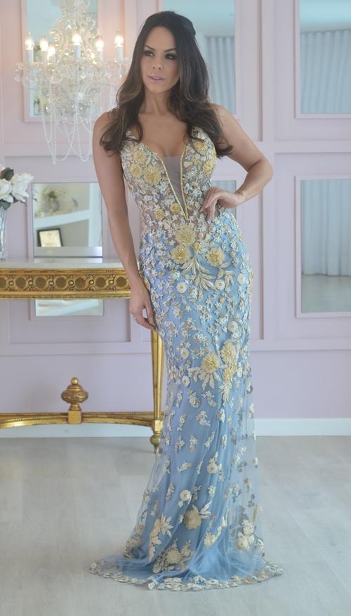 vestido de festa azul e amarelo