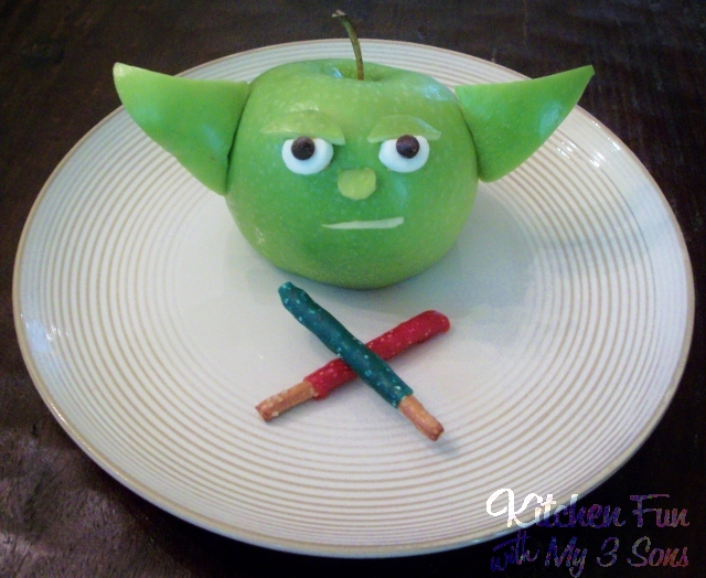 star wars yoda edible apple craft for kids