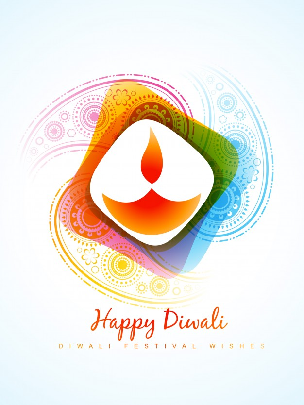 Modern candle design for diwali Free Vector