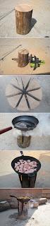 Plancha-Cocina con un Tronco de Arbol. Diy