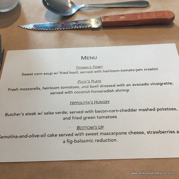menu for monthly dinner at Homemade Cafe in Berkeley, California