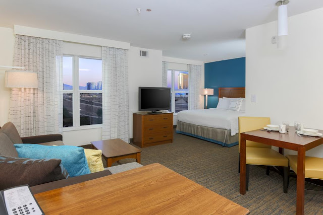 The newly renovated Residence Inn Las Vegas South is the premier choice for extended stay hotels near Las Vegas airport. One block away from the famous Las Vegas Strip & half-mile from many of Las Vegas' top attractions, this extended stay Las Vegas hotel offers a free shuttle for his guests.