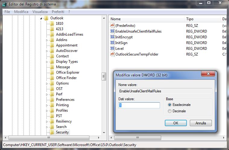 Regedit, attivare esecuzione macro in Outlook tramite il valore EnableUnsafeClientMailRules