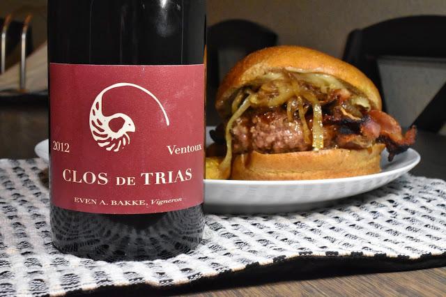 Clos de Trias Ventoux with Bacon-Cheddar-Teriyaki Burger. Recipe by Nicole Ruiz Hudson. Photo by Greg Hudson.