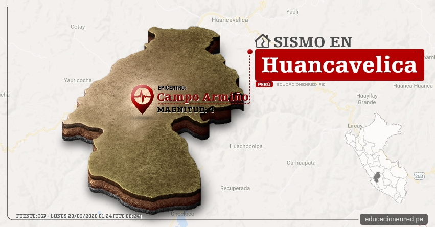 Temblor en Huancavelica de Magnitud 4 (Hoy Lunes 23 Marzo 2020) Sismo - Epicentro - Campo Armiño - Tayacaja - IGP - www.igp.gob.pe