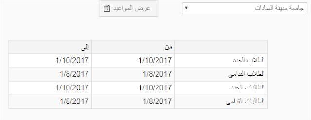 مواعيد التقديم بالمدينة الجامعية بجامعة مدينة السادات 2017_2018 نظام الزهراء الجامعى