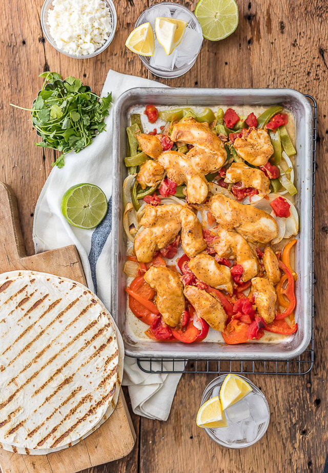 Skinny Baked Sheet Pan Chicken Fajitas - so easy and incredibly flavorful