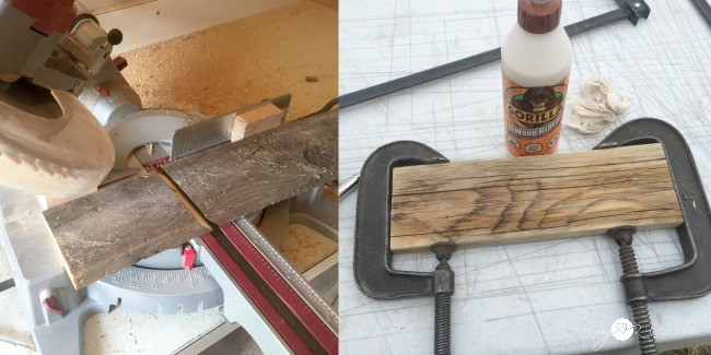 making cuts and gluing reclaimed wood back together