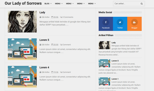 Our Lady of Sorrow Responsive Blogger Templates