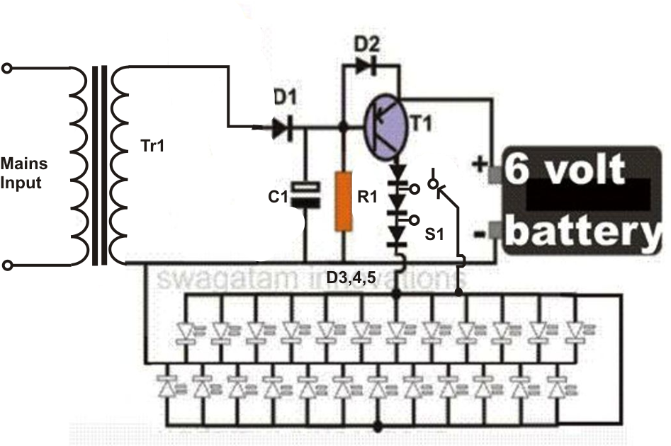 Simple LED Emergency Light Circuit ~ Electronic Circuit