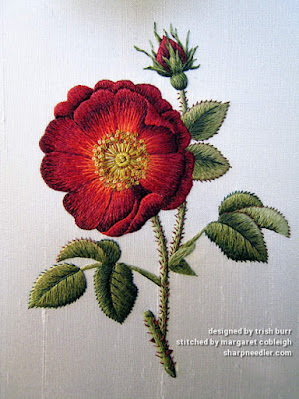Thread painted red rose (in silk) complete. Design by Trish Burr
