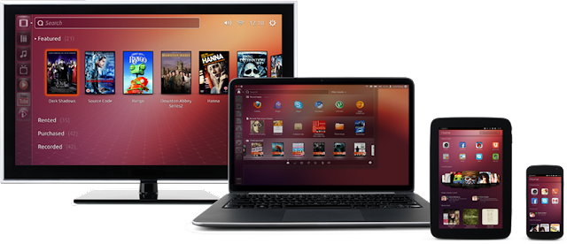 TV, notebook, tablet e smartphone com Ubuntu