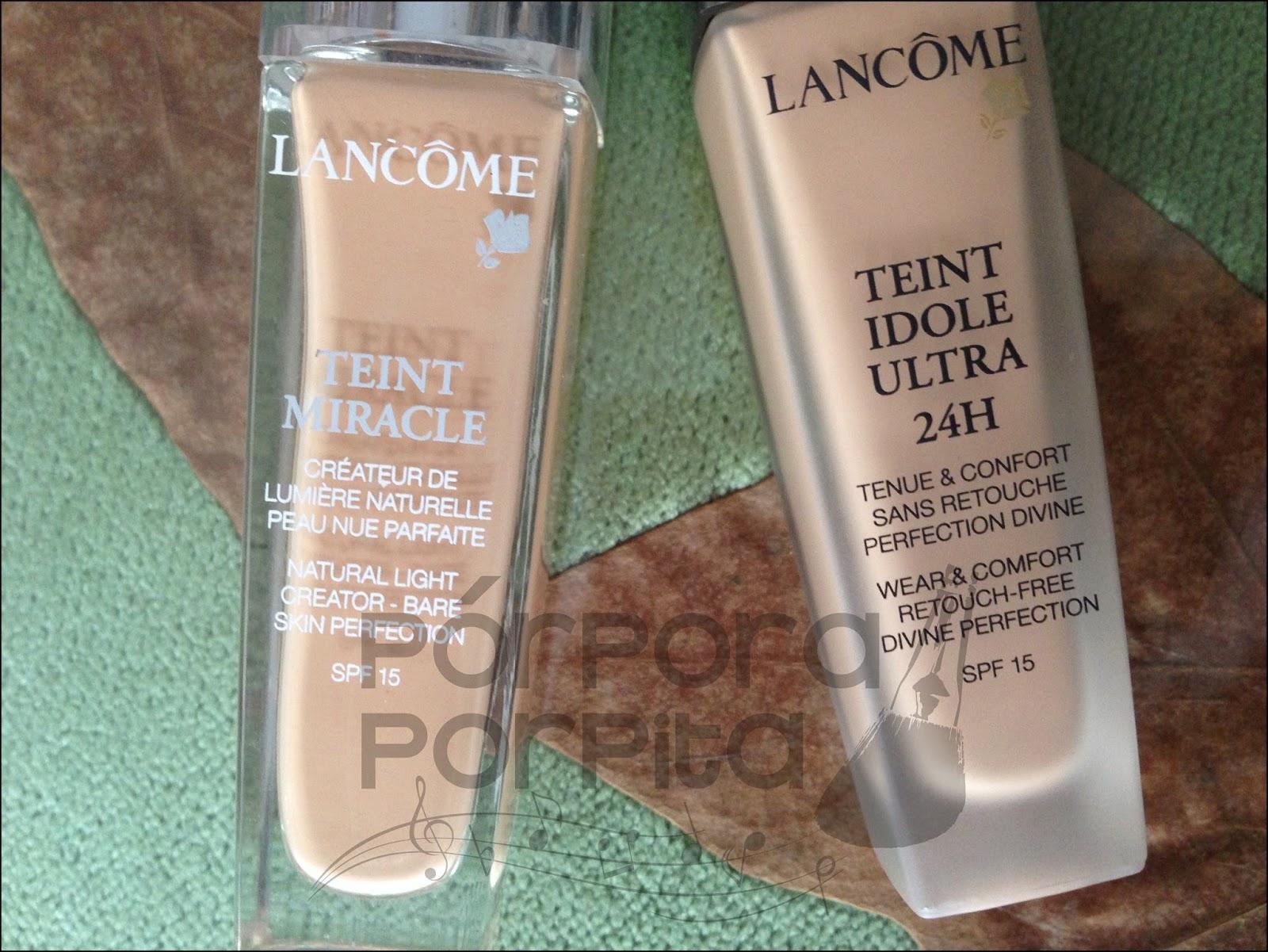 Review comparativa Base Teint Miracle y Teint Idole de Lancôme