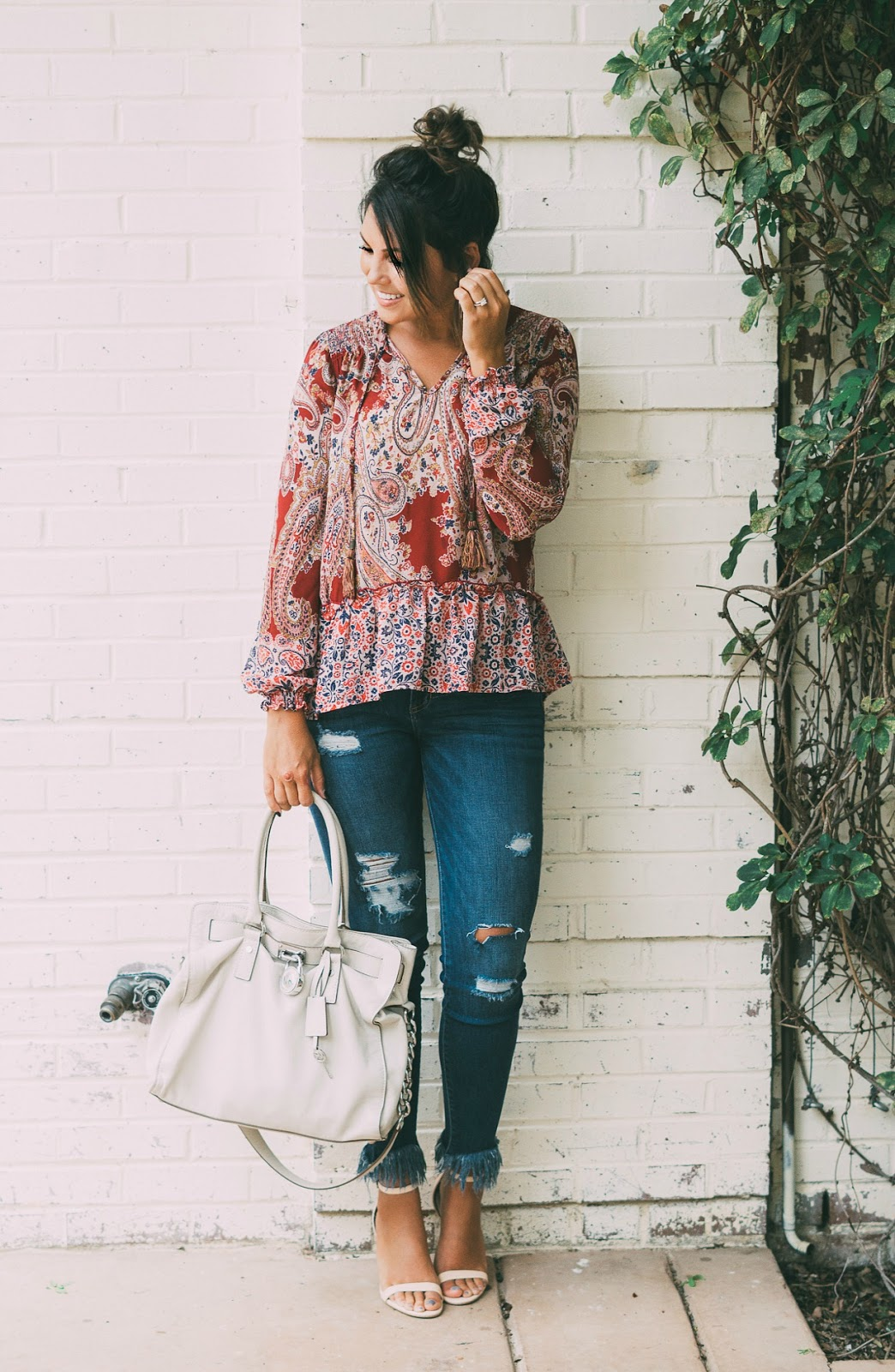 knox rose target, michael kors hamilton, paisley top, fringe denim