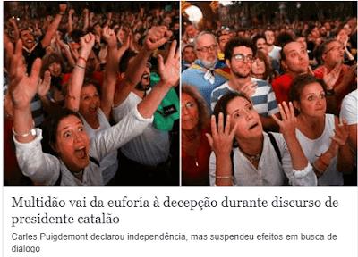 Multidão vai da euforia a decepção durante dicursso de Puigdemont