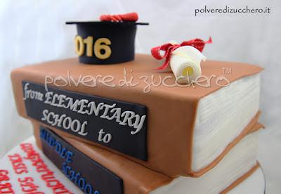 torta libri laurea diploma graduates cake design pasta di zucchero polvere di zucchero