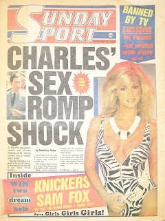 Front cover of 1st edition Sunday Sport newspaper from 14th September 1986