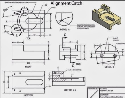 Includes drawings of mechanical parts, both 2D and 3D