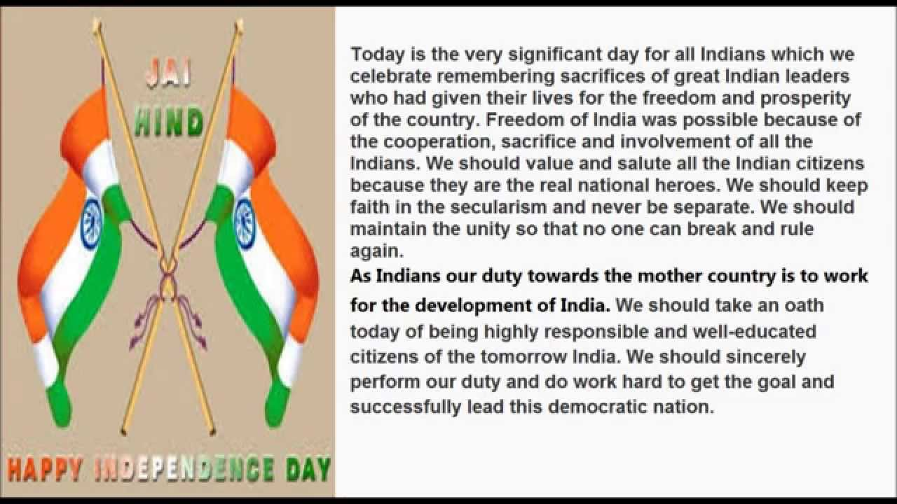 Independence pdf indian day speech