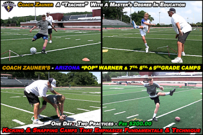 Arizona Kicking Camps For Pop Warner & Middle School Kickers and Snappers