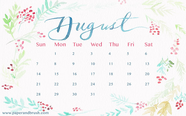August 2016 Calendar Wallpaper - Paper and Brush